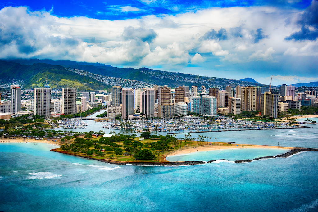 Skyline Aerial Of Honolulu Hawaii