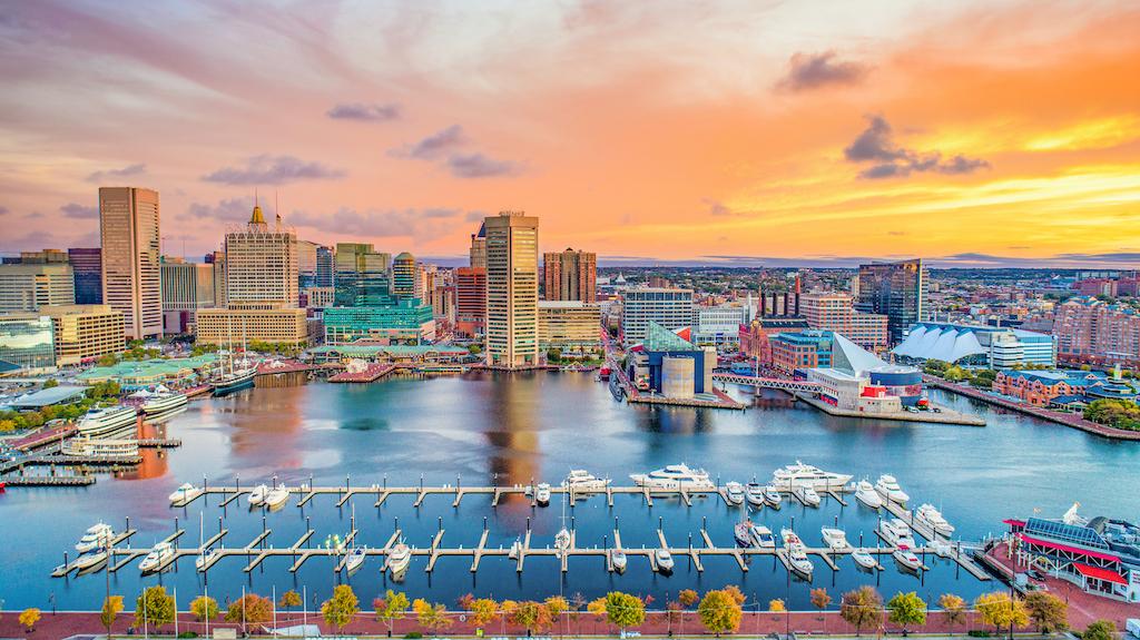 Baltimore Maryland MD Inner Harbor Skyline Aerial