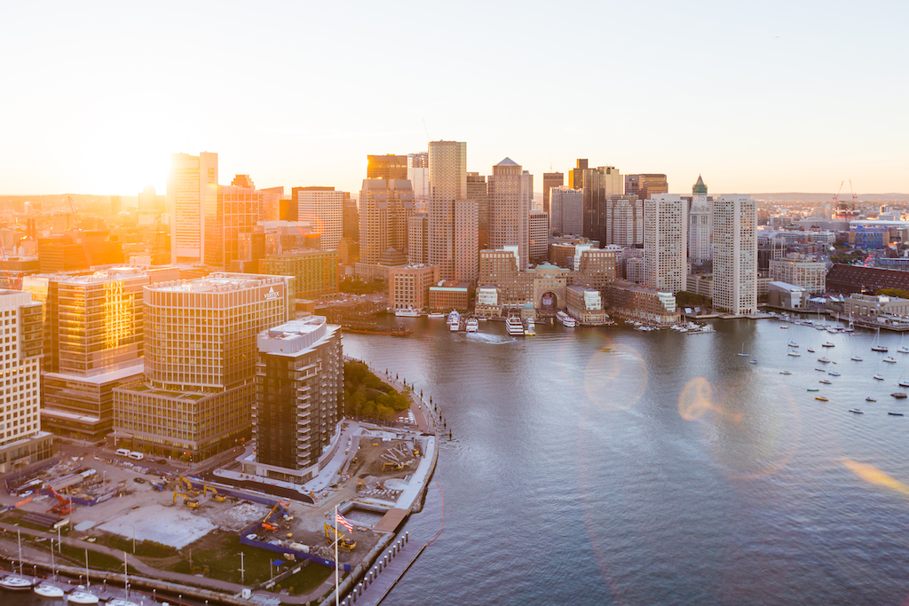 East Boston Waterfront Aerial Sunset