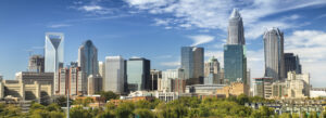 City Panorama Skyline Of Downtown Charlotte North Carolina USA